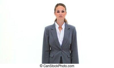 femme affaires, blond, hanches, elle, mains