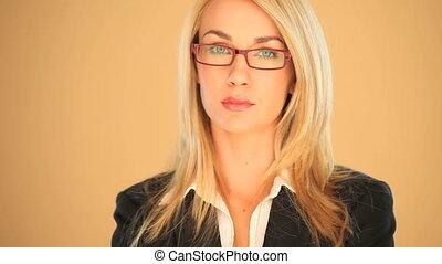 femme affaires, blond, sourire