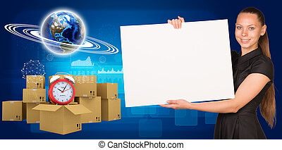 femme affaires, boîtes, carton, tas, la terre