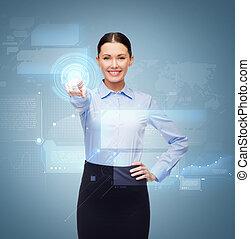 femme affaires, bouton, doigt indique, sourire