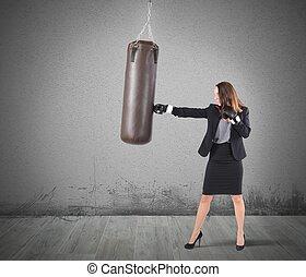 femme affaires, boxe
