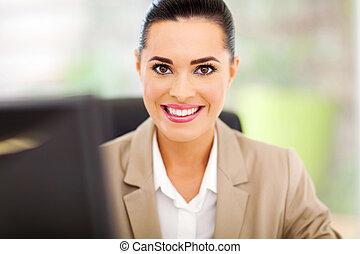 femme affaires, bureau, heureux