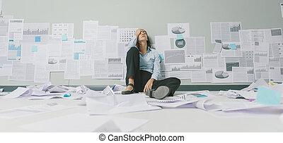 femme affaires, business, désespéré, échec