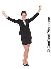 femme affaires, célébrer, à, main a élevé