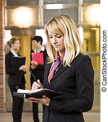 femme affaires, calendrier, elle