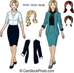 femme affaires, caucasien, usage formel, élégant