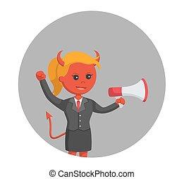femme affaires, cercle, diable, porte voix, fond