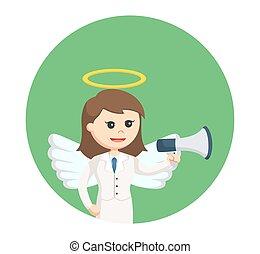 femme affaires, cercle, porte voix, fond, ange