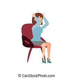 femme affaires, chaise, caractère, avatar, séance