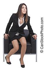 femme affaires, chaise, haut, obtenir