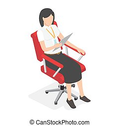 femme affaires, chaise, illustration, bureau, rouges