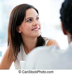 femme affaires, collègue, portrait, elle, beau
