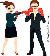 femme affaires, combat, contre, homme affaires