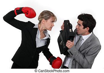 femme affaires, combat, homme affaires