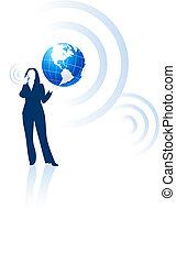 femme affaires, communication globale