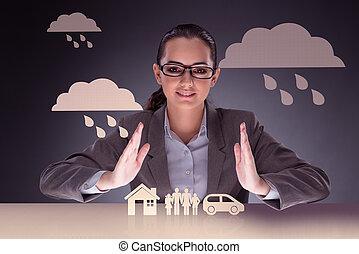 femme affaires, concept, assurance, jeune