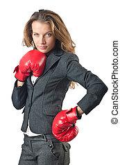 femme affaires, concept, boxe, jeune