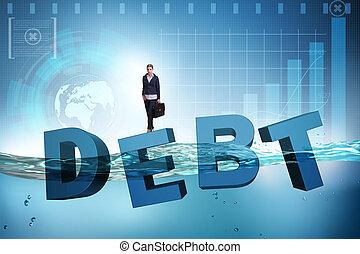 femme affaires, concept, business, dette