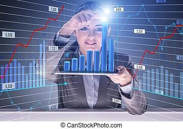 femme affaires, concept, commerce, stockage