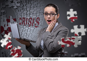 femme affaires, concept, crise, business