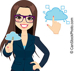 femme affaires, concept, nuage, calculer