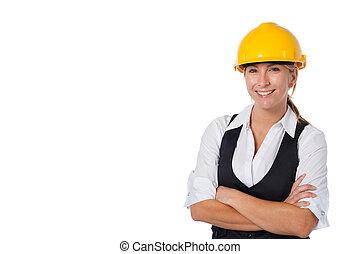femme affaires, construction