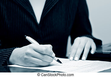 femme affaires, contrat signant