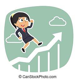 femme affaires, courant, graphique, indien, élévation