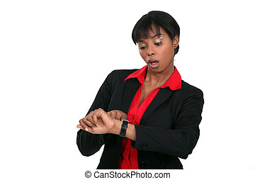 femme affaires, courant, noir, late.