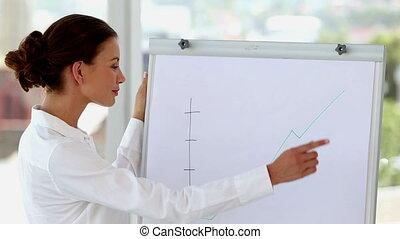 femme affaires, courbe, o, pointage