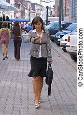 femme affaires, dans hâte