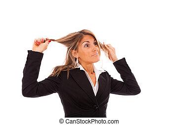 femme affaires, dans, tension