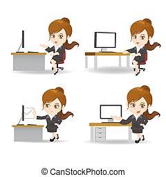 femme affaires, dessin animé, bureau