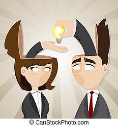 femme affaires, dessin animé, homme affaires, idée, ampoule
