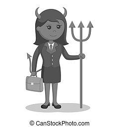 femme affaires, diable, serviette