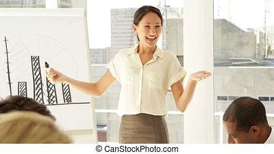 femme affaires, diagramme, expliquer, barre
