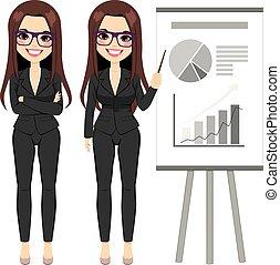 femme affaires, diagramme, pointage