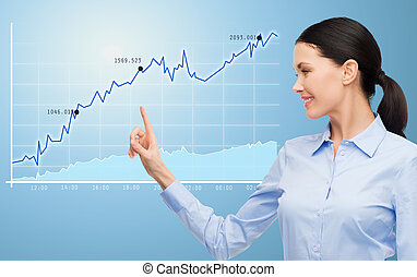 femme affaires, diagramme, pointage doigt