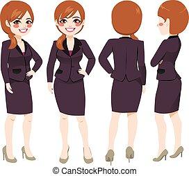 femme affaires, différent, angle, vue