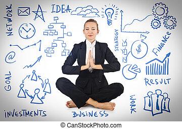 femme affaires, divers, méditer, concepts affaires