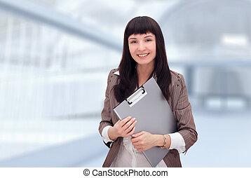 femme affaires, document, folder.
