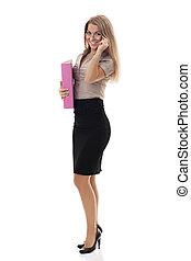 femme affaires, documents, séduisant