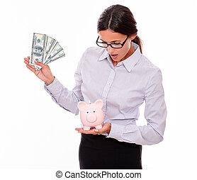 femme affaires, dollar, porcin, tenue, factures, banque