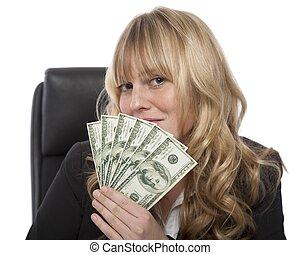 femme affaires, dollars, fistful, smirking