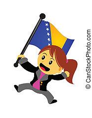 femme affaires, drapeau
