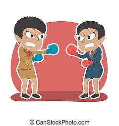 femme affaires, duel, boxe, africaine