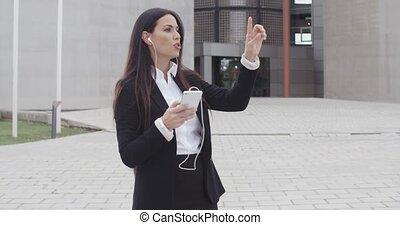 femme affaires, elle, conversation, mobile, jeune