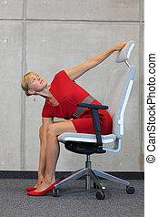 femme affaires, exercisme, sur, chaise