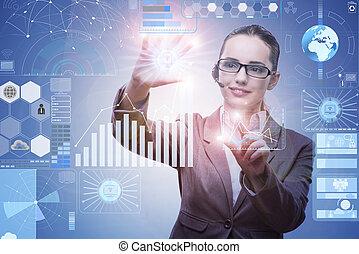 femme affaires, exploitation minière, concept, données