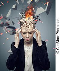 femme affaires, exploser, séduisant, mal tête